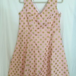 One-of-a-kind pink & gold polka dot party dress!